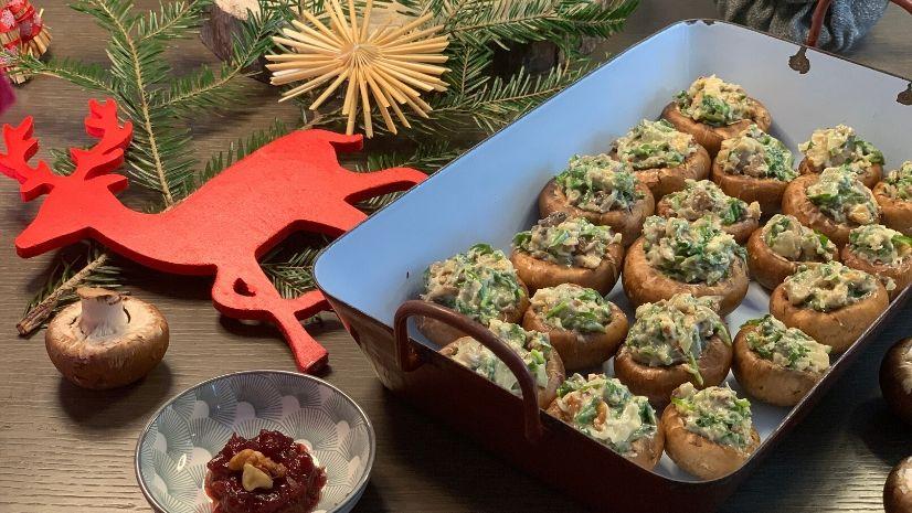 Rezept Herzhaft gefüllte Champignons nach der TCM - Vorspeise Weihnachten - TCM Ernährung - 5 Elemente - Anna Reschreiter - annatsu